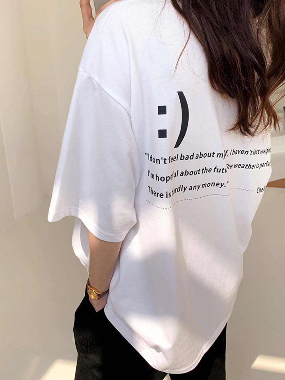 【広州仕入れ】モノトーンシンプル大人スマイルTシャツ
