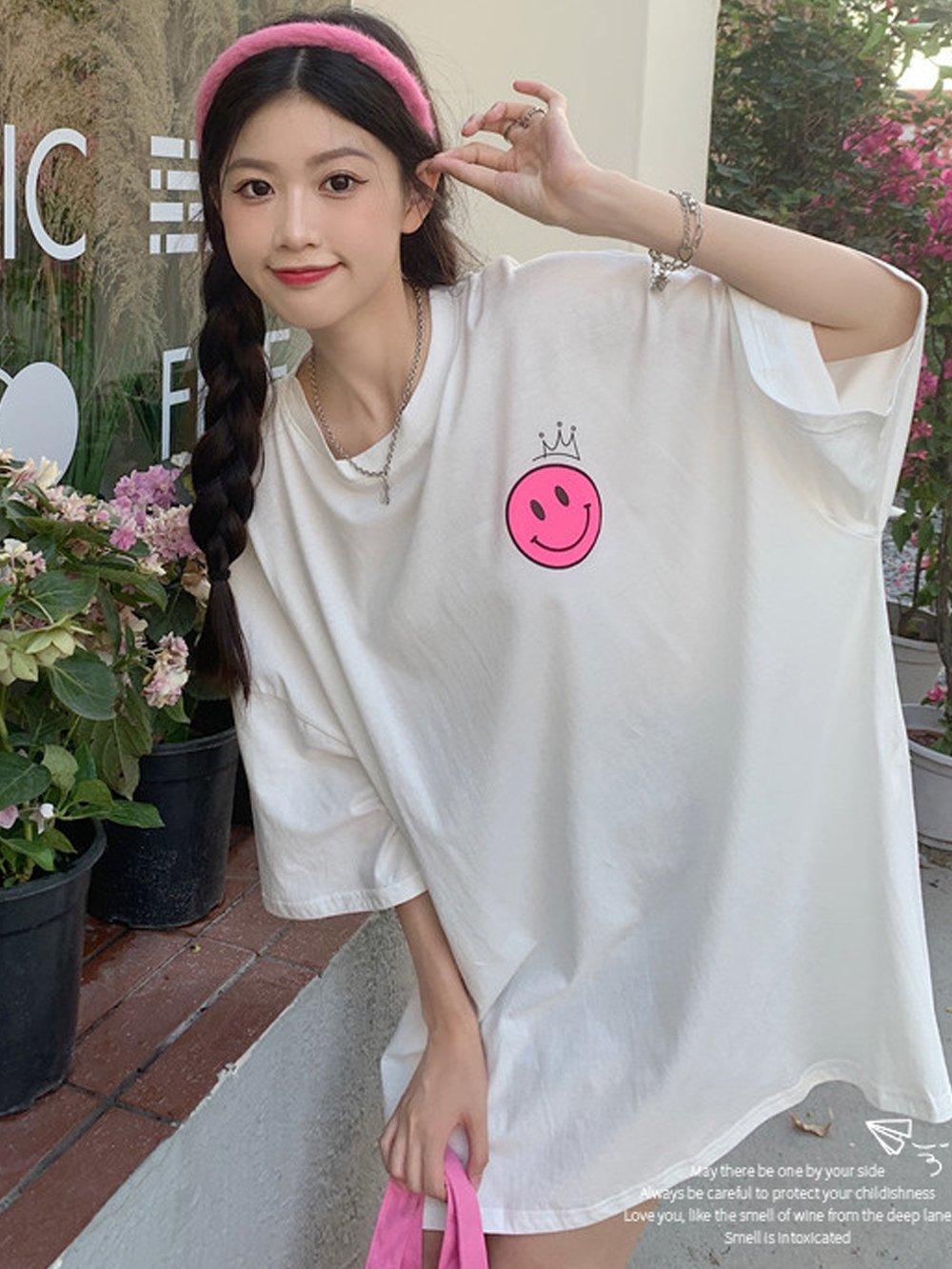 【広州仕入れ】ビッグシルエット☆にこちゃんクラウンTシャツ