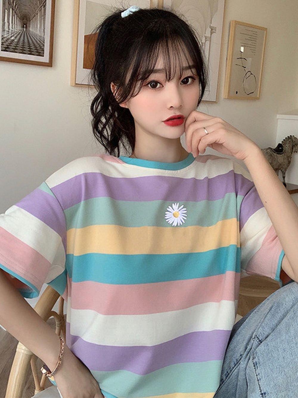 【広州仕入れ】フラワーレインボーTシャツ