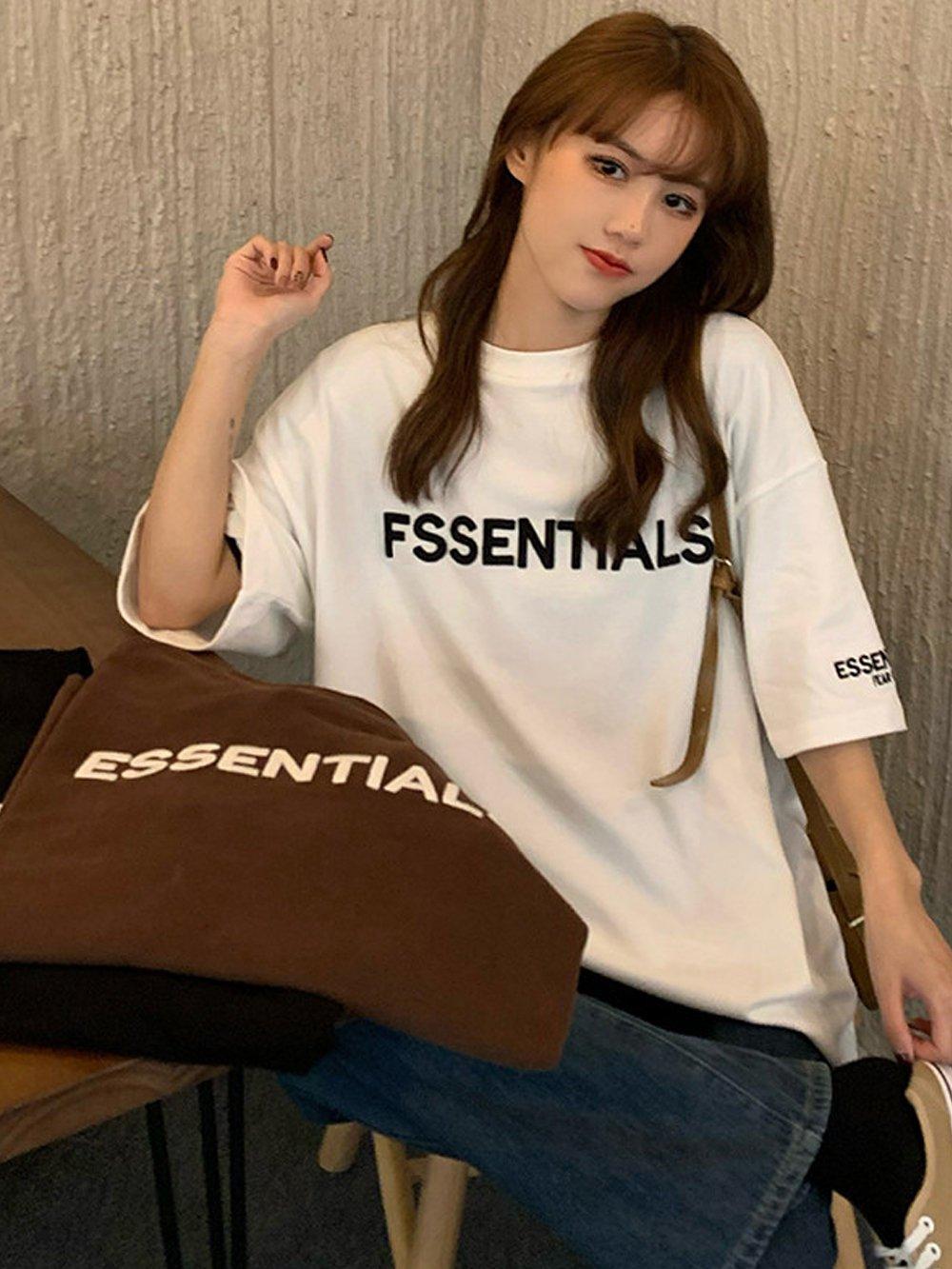 【広州仕入れ】シンプルロゴ刺繍半袖Tシャツ