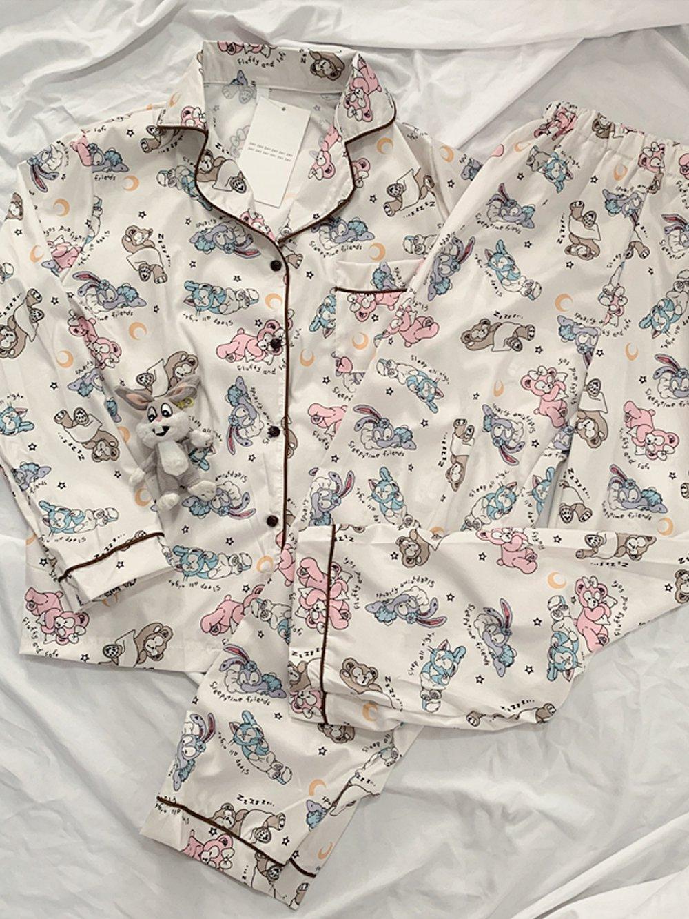 【広州仕入れ】うさぎプリントパジャマ