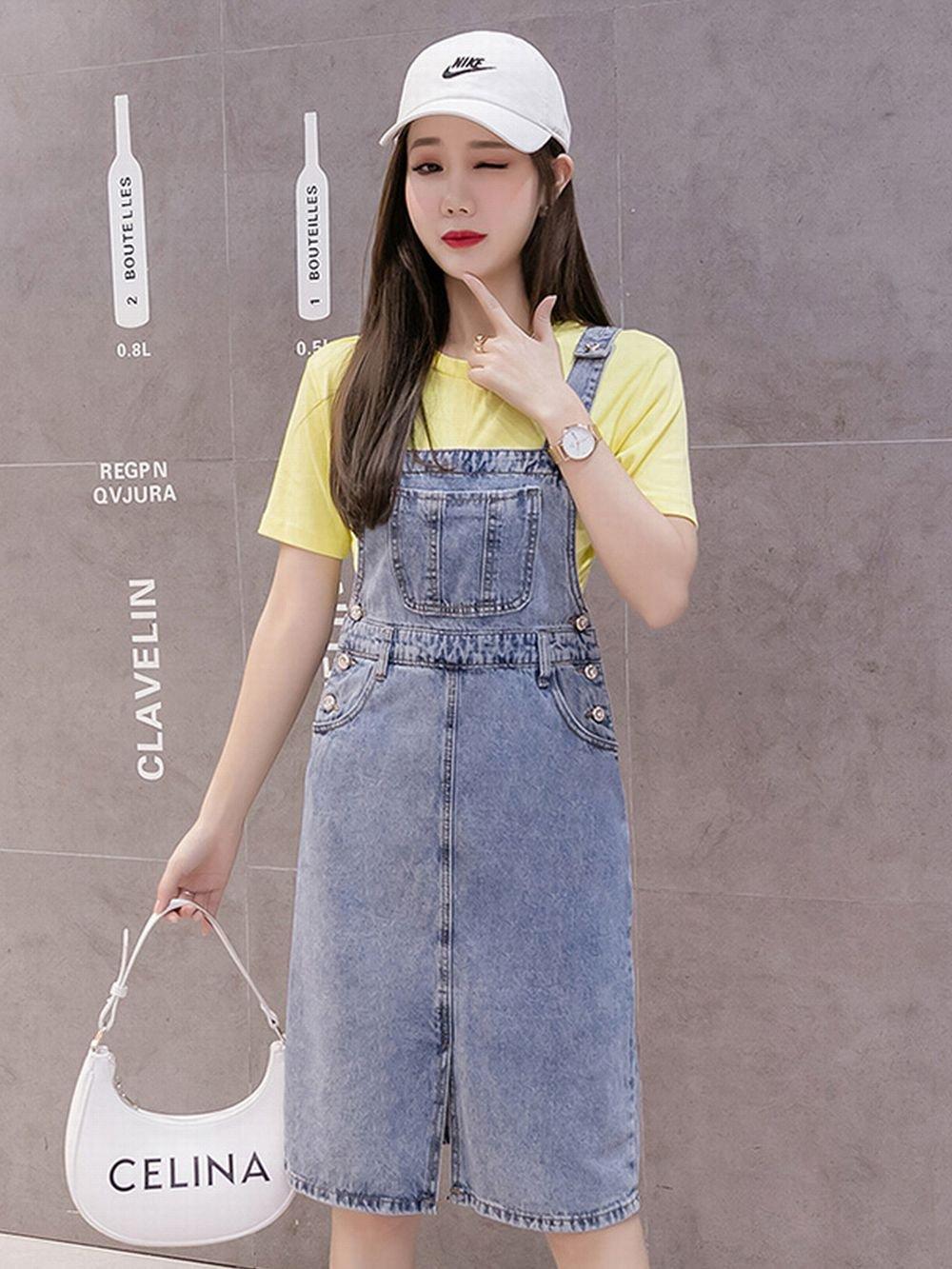 【広州仕入れ】デニムジャンパースカート