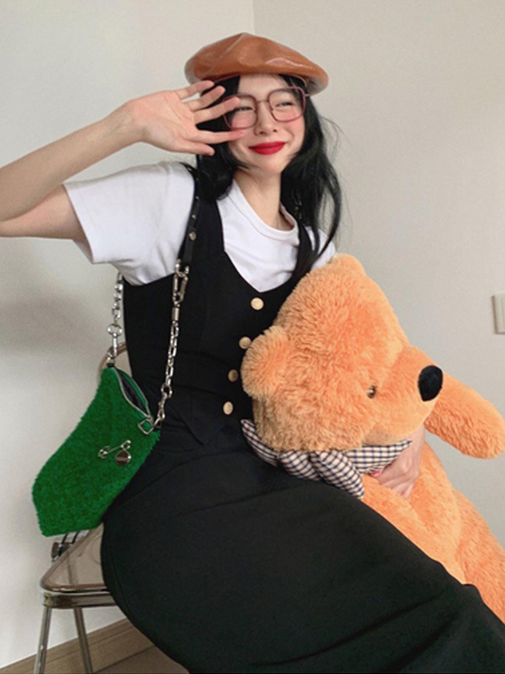 【広州仕入れ】ハイウェストストラップドレス