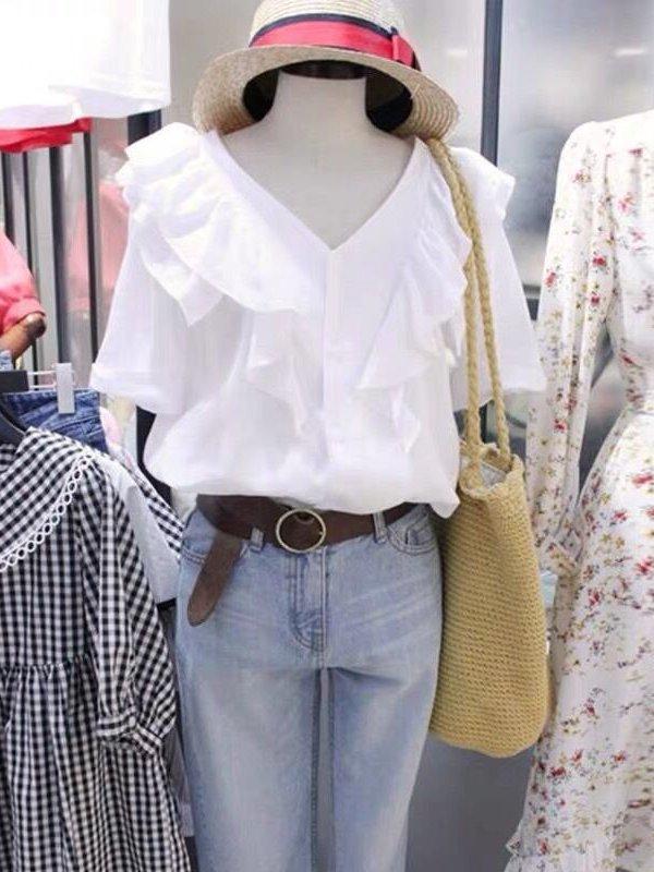 【広州仕入れ】Vネックフリル半袖シャツ
