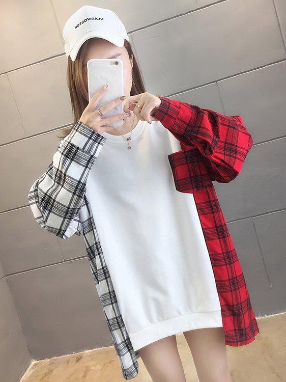 【広州仕入れ】袖チェック柄切り替えシャツ