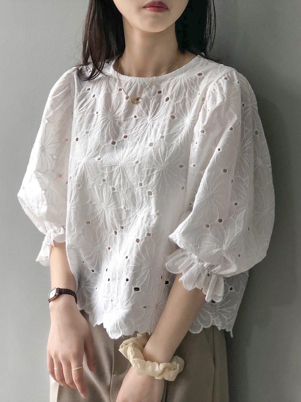 【広州仕入れ】韓国レースラウンドネックパフスリーブシャツ