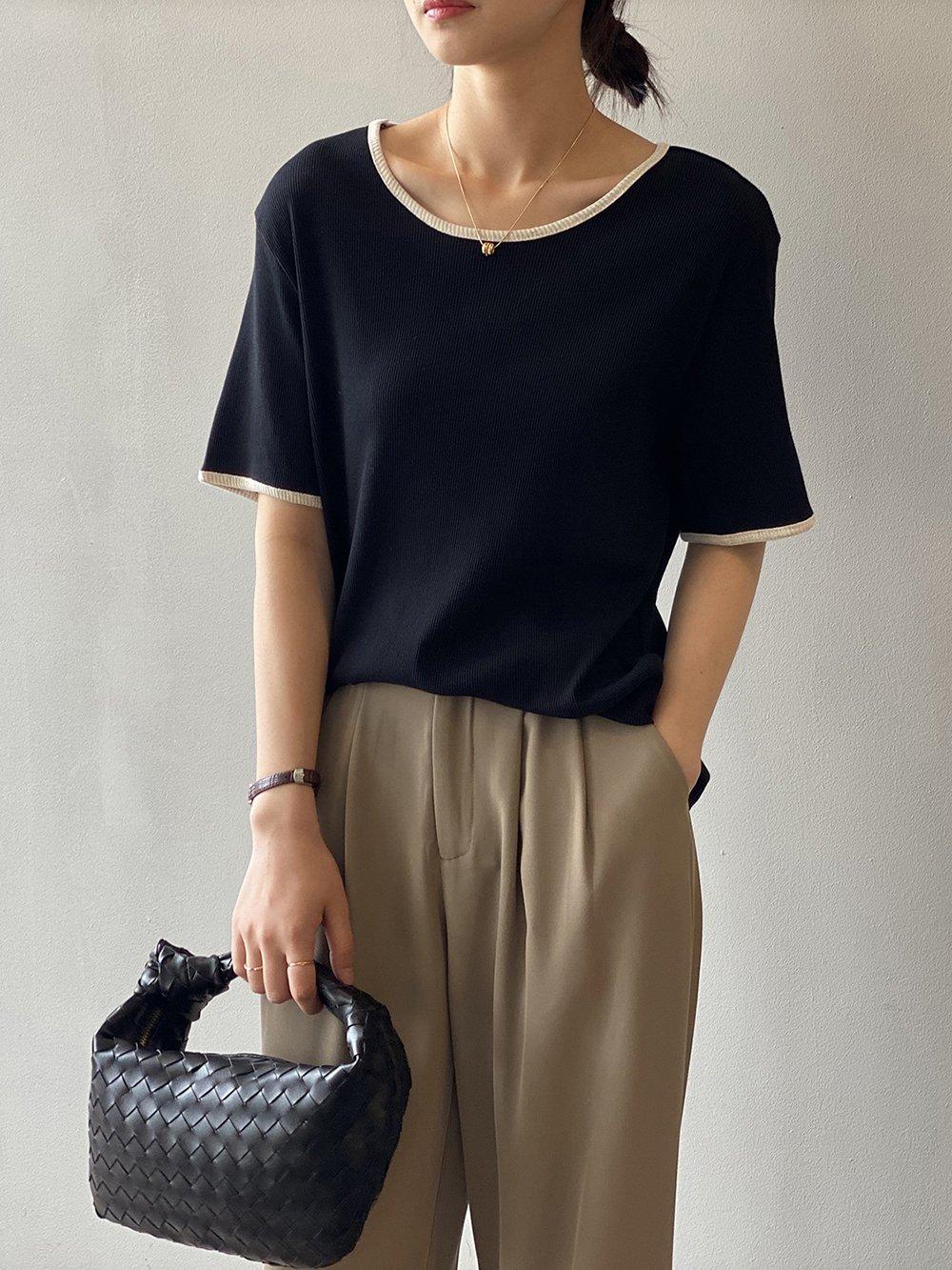 _k297-49【広州仕入れ】カジュアルラウンドカラー半袖Tシャツ