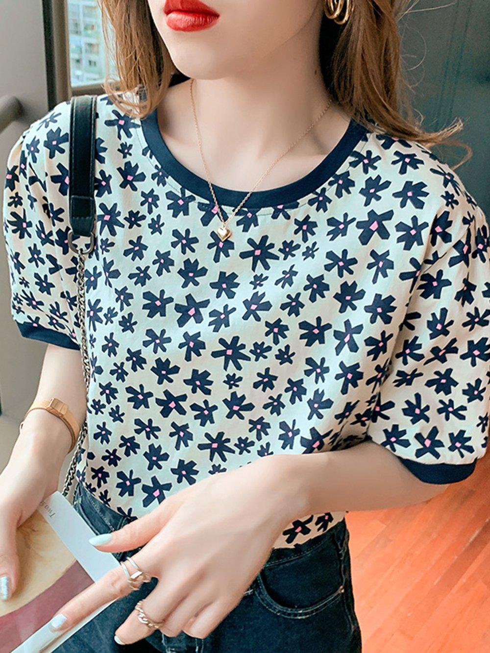 【広州仕入れ】半袖レトロフラワープリントTシャツ