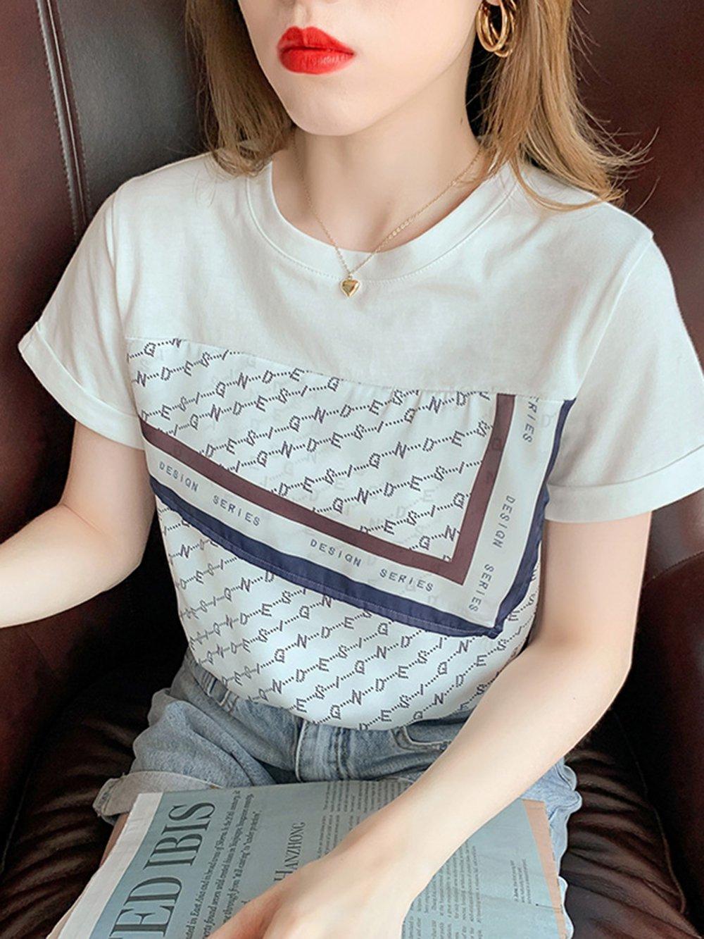 【広州仕入れ】スカーフ柄 半袖ラウンドネックTシャツ