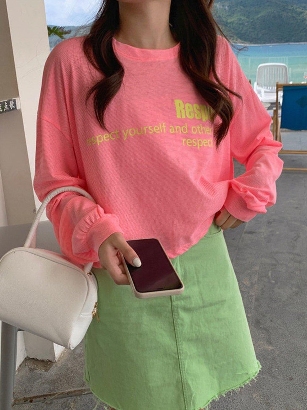 【広州仕入れ】ショート丈 ロングスリーブTシャツ