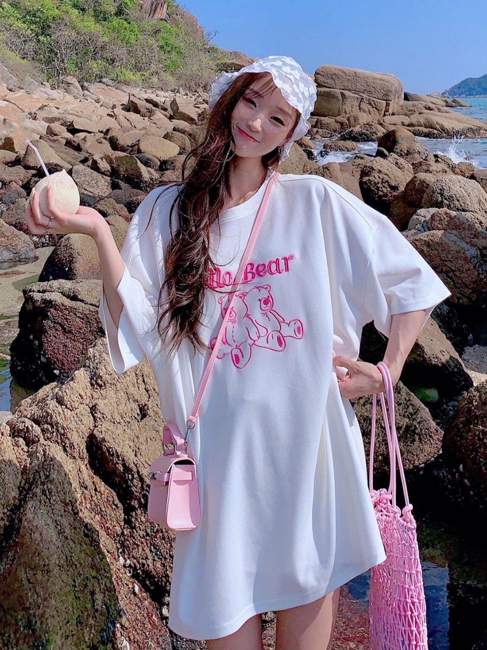 【広州仕入れ】半袖ルースキャンディーカラー刺繍クマ綿トップTシャツ