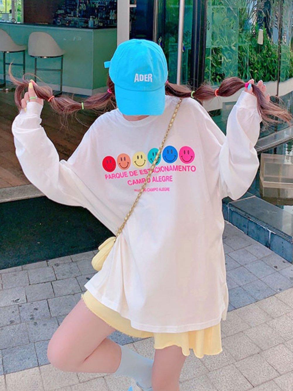 【広州仕入れ】ニコちゃんマークがポイント 長袖ラウンドネックオーバーサイズTシャツ