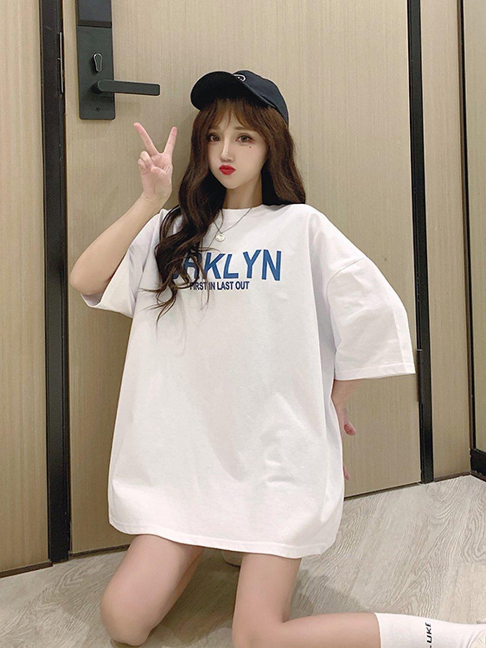 【広州仕入れ】半袖タイドラウンドネックルーズラージサイズレタープリントTシャツ
