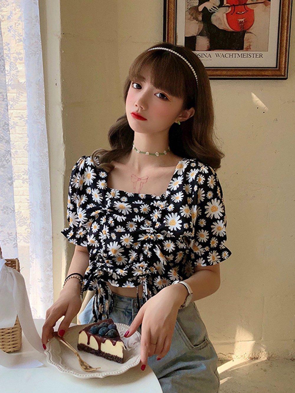 【広州仕入れ】半袖スクエアネック 花柄シフォンシャツ