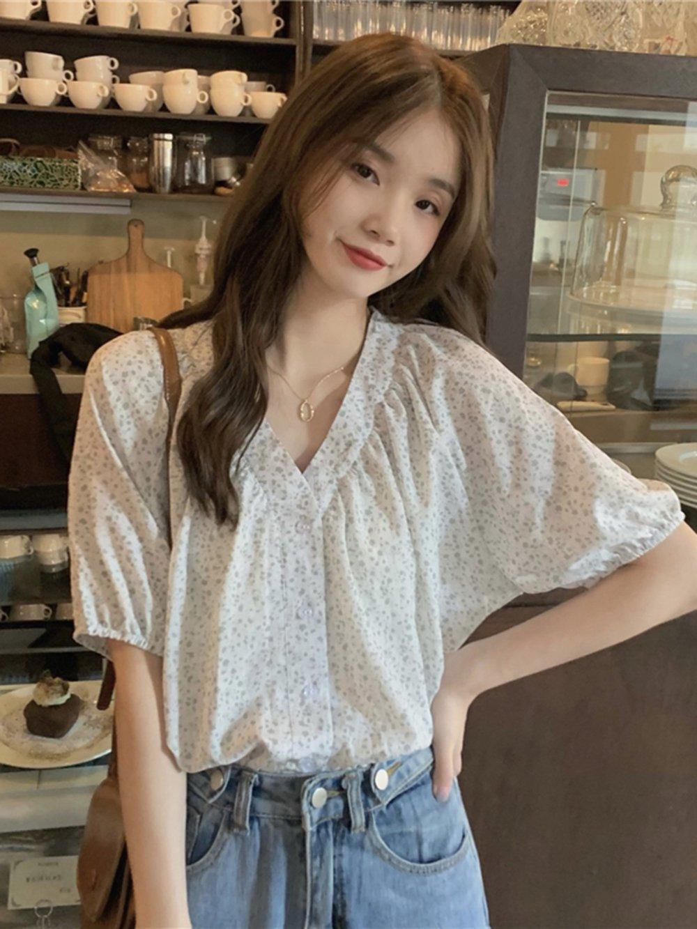 【広州仕入れ】レトロVネック 花柄半袖シフォンシャツ