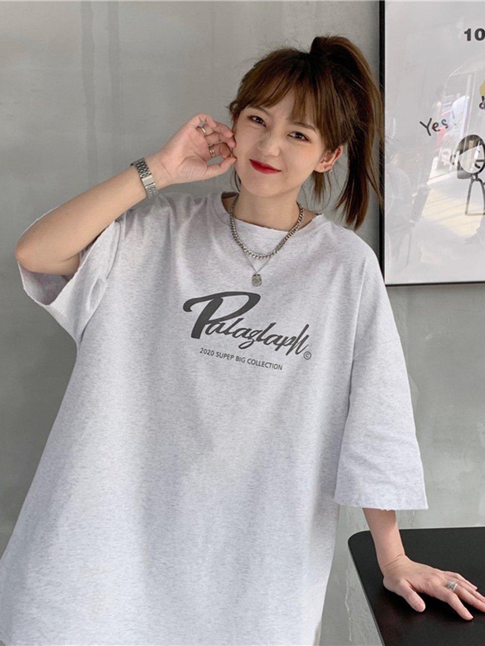 【広州仕入れ】レターワードプリントラージサイズ半袖Tシャツ
