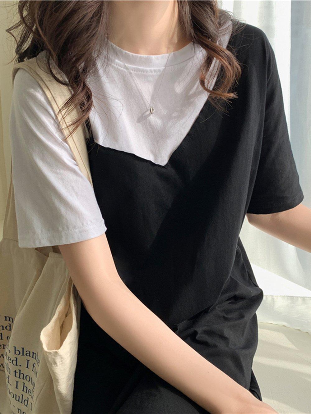 【広州仕入れ】フェイクツーピース 膝上半袖Tシャツワンピース