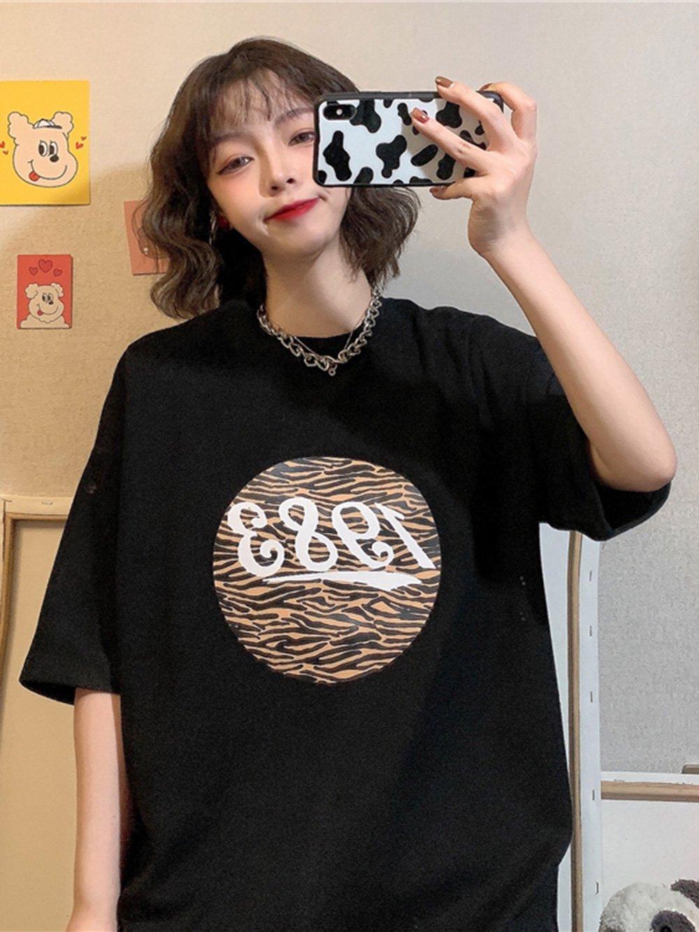 【広州仕入れ】ビッグシルエット トラ柄半袖Tシャツ