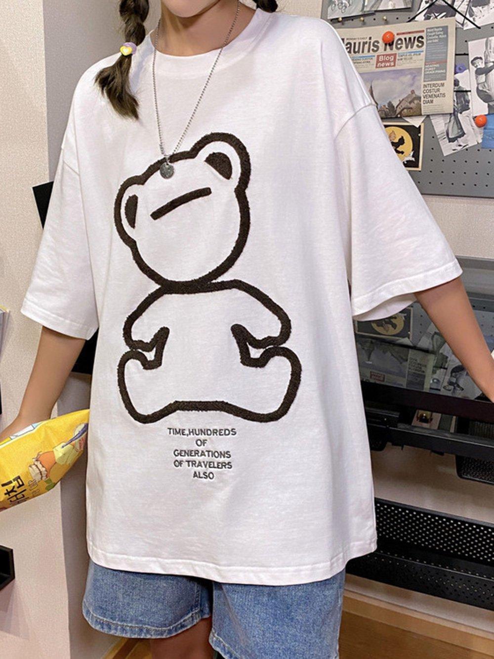 【広州仕入れ】ユニセックスクマ刺繍半袖Tシャツ