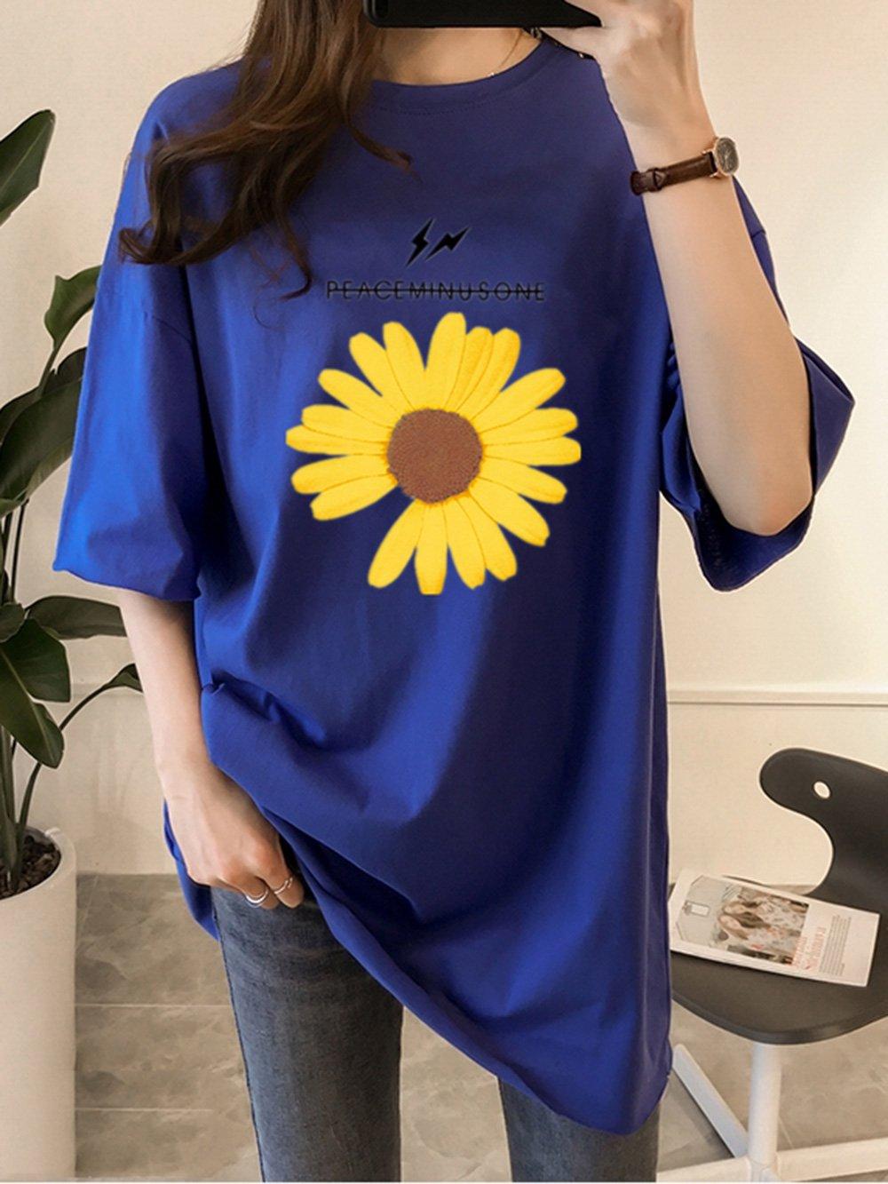 【広州仕入れ】ルーズシルエット半袖ロングTシャツ