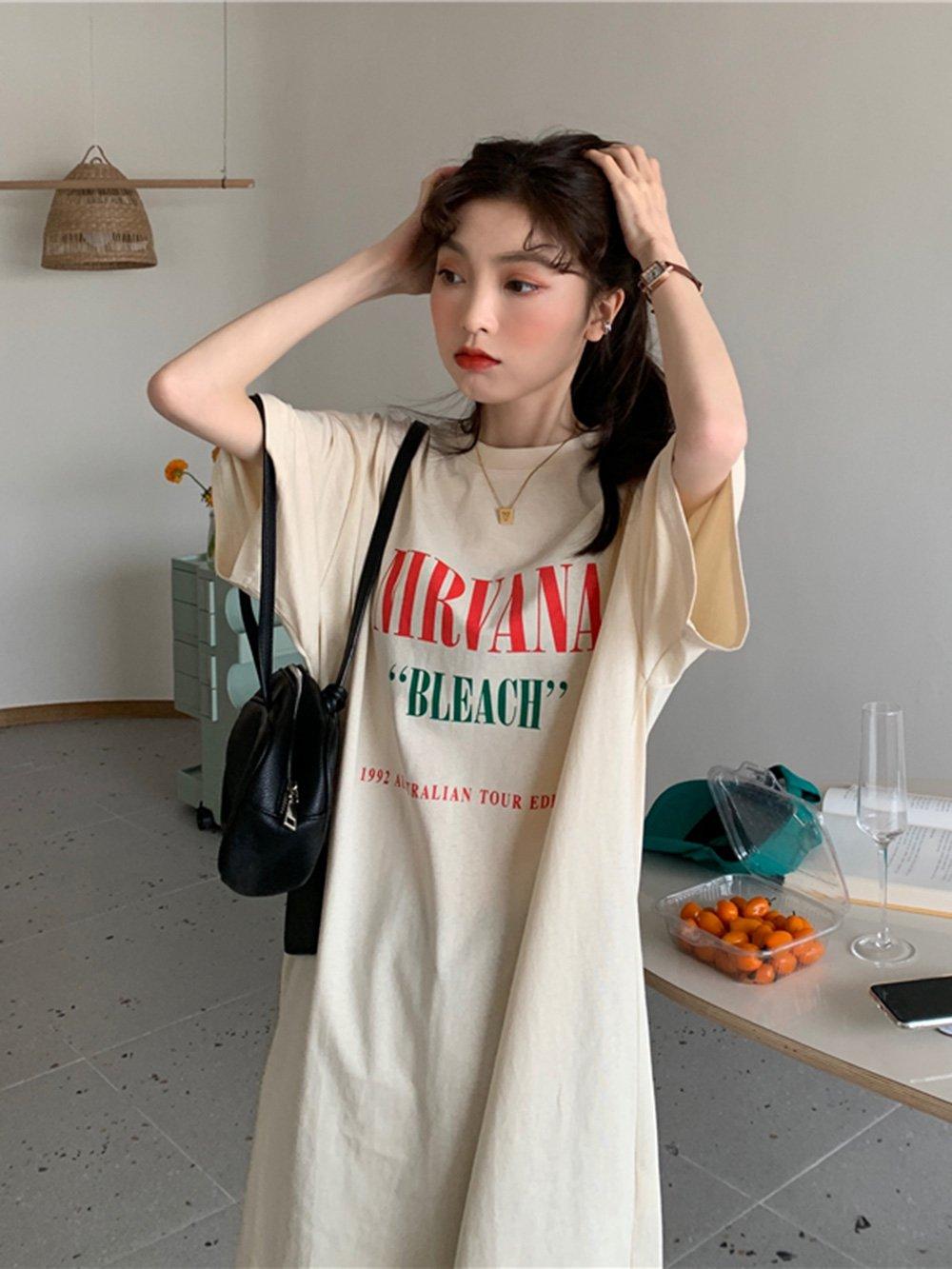 【広州仕入れ】五分袖英字ロングTシャツ