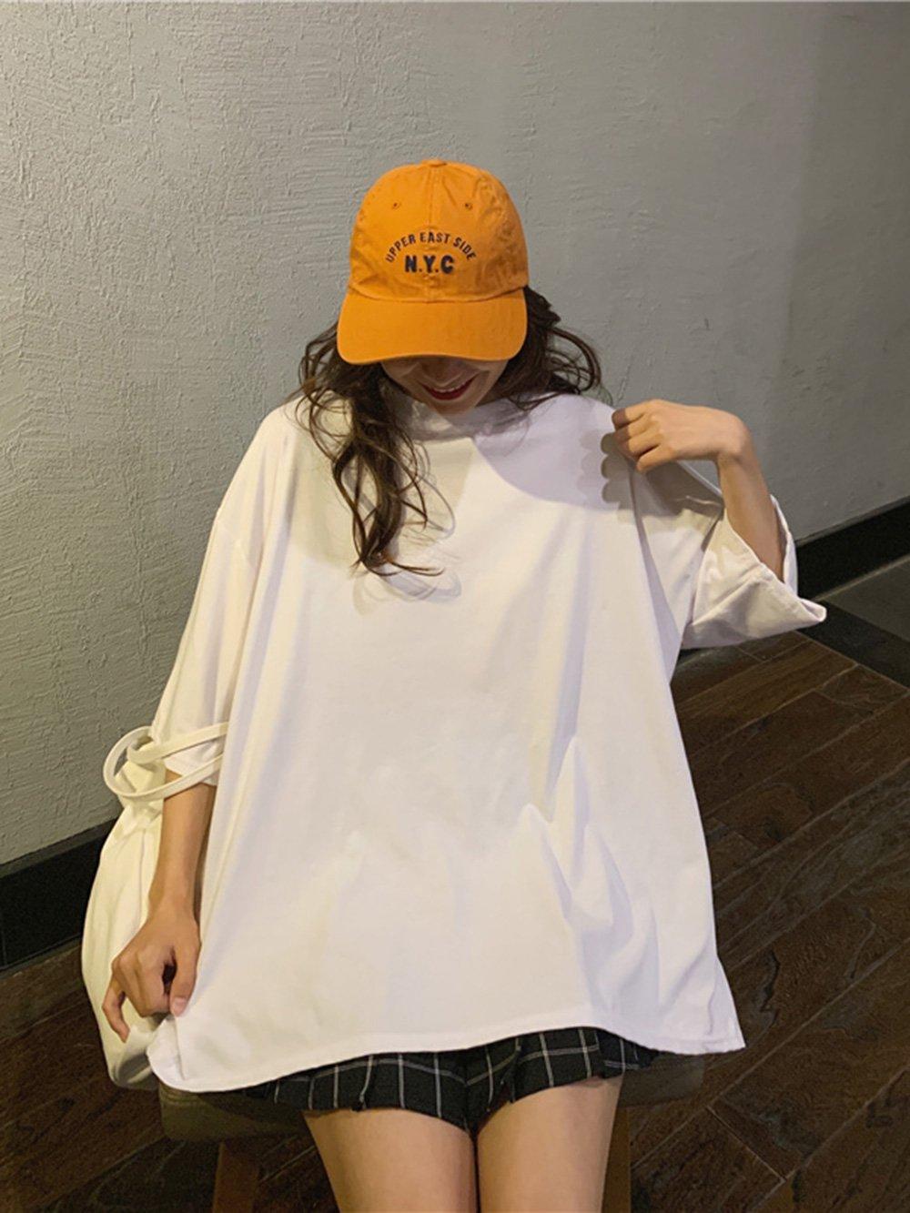 【広州仕入れ】無地 ラウンドネック オーバーサイズ半袖Tシャツ