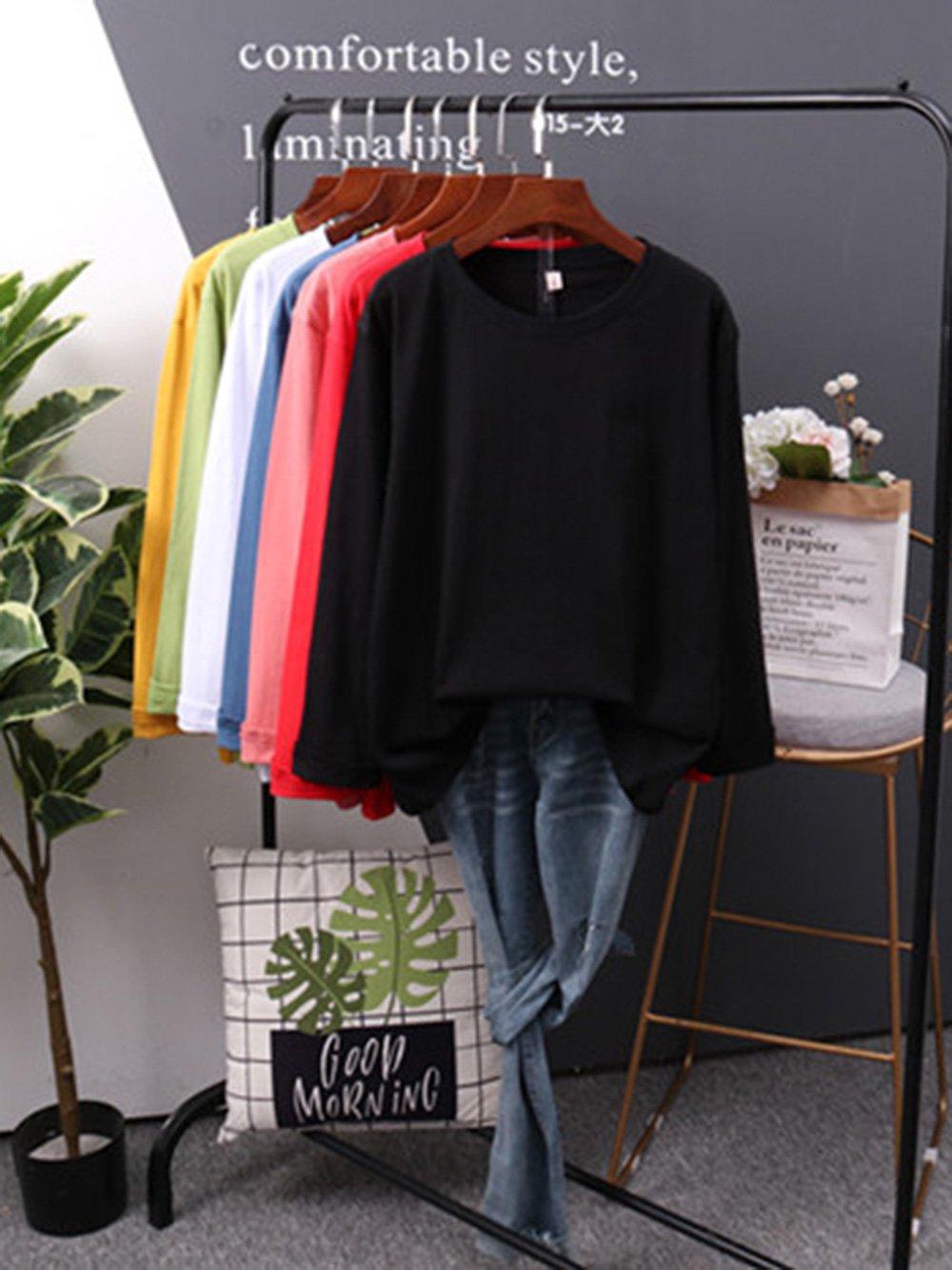 【広州仕入れ】100%ピュアコットン無地レディースロングTシャツ