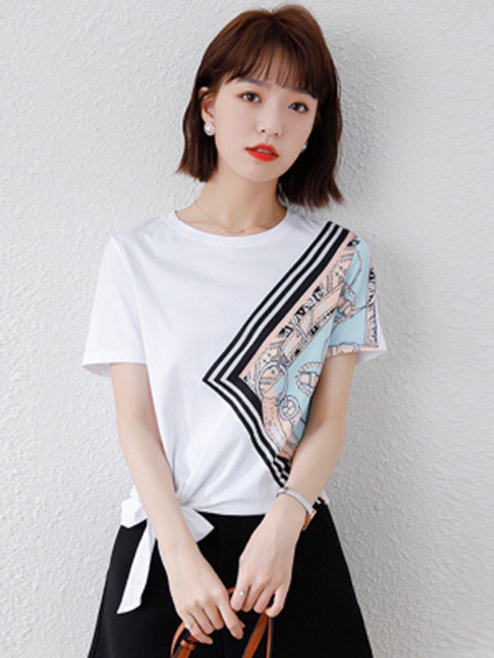 【広州仕入れ】スカーフ柄 ラウンドネック半袖Tシャツ