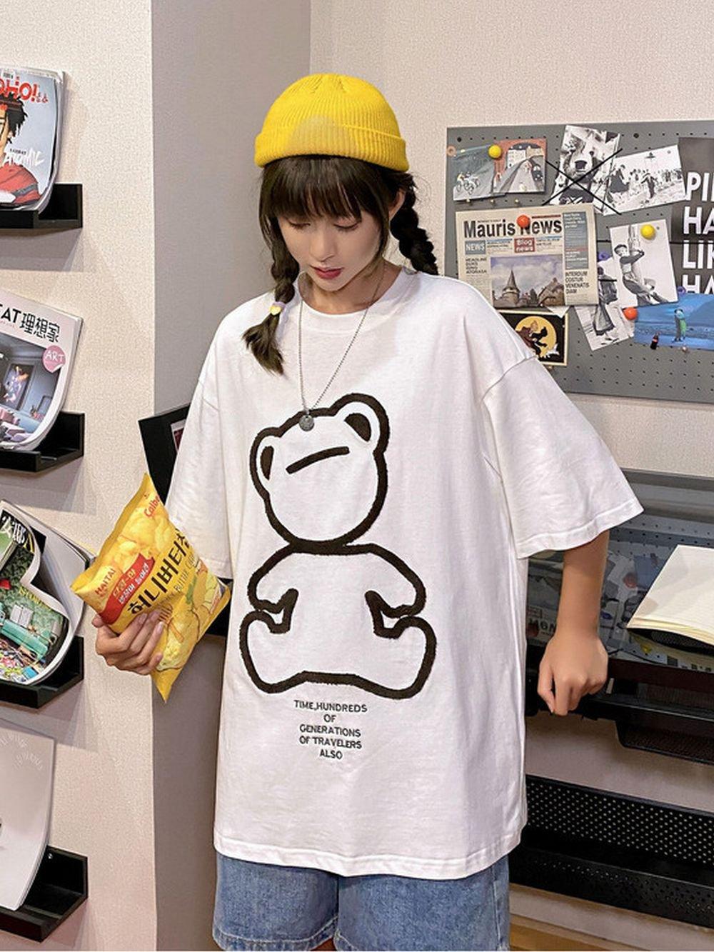 【広州仕入れ】ベアー刺繍半袖Tシャツ