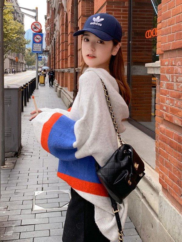【広州仕入れ】オーバーサイズ ボーダーフード付きセーター
