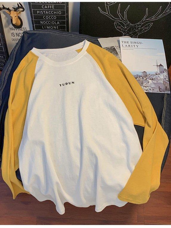 【広州仕入れ】ツートンカラー ラウンドネック長袖Tシャツ