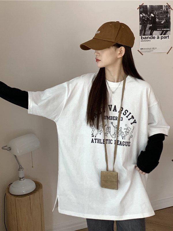 【広州仕入れ】ツーピース プリント入り長袖ラウンドネックTシャツ