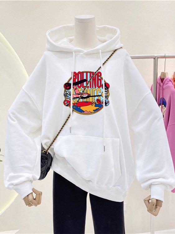 【広州仕入れ】ルーズプリント長袖フード付きセーター