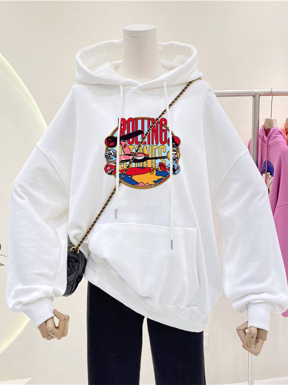 【広州仕入れ】プリント入り 長袖オーバーサイズセーター