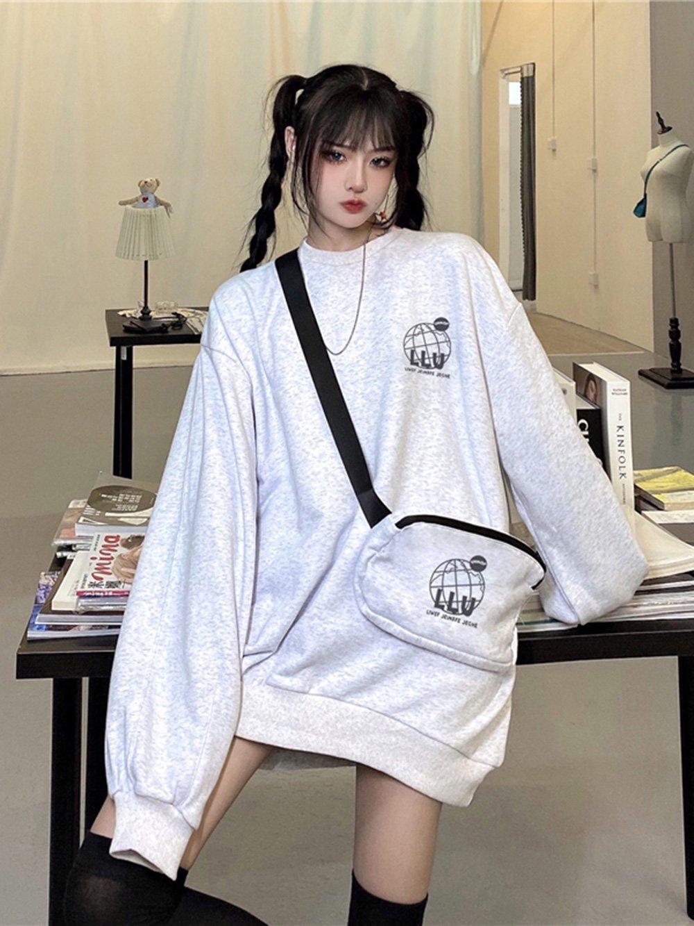 【広州仕入れ】バッグ付き 長袖オーバーサイズセーター