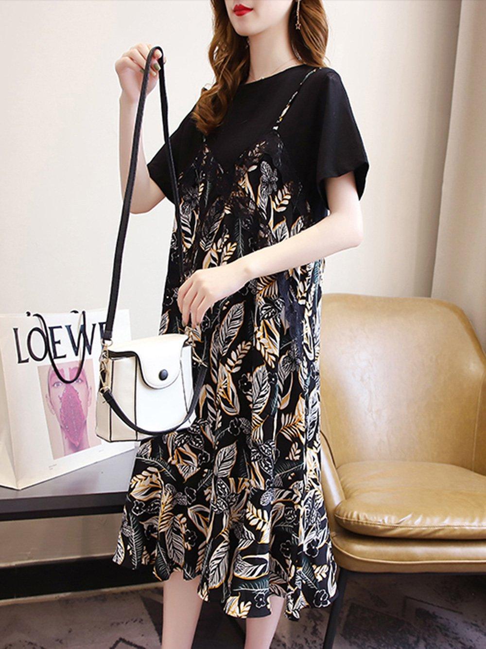 【広州仕入れ】シフォンスカート風フェイクツーピースドレス