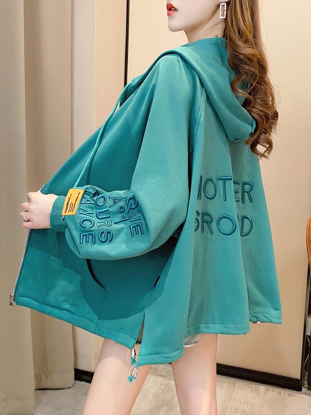 【広州仕入れ】刺繍ロゴ入り フード付きオーバーサイズセーター
