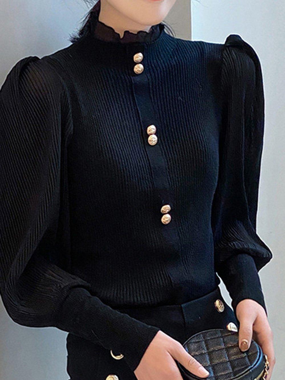 【広州仕入れ】カビハーフハイカラーランタンスリーブボトミングセーター