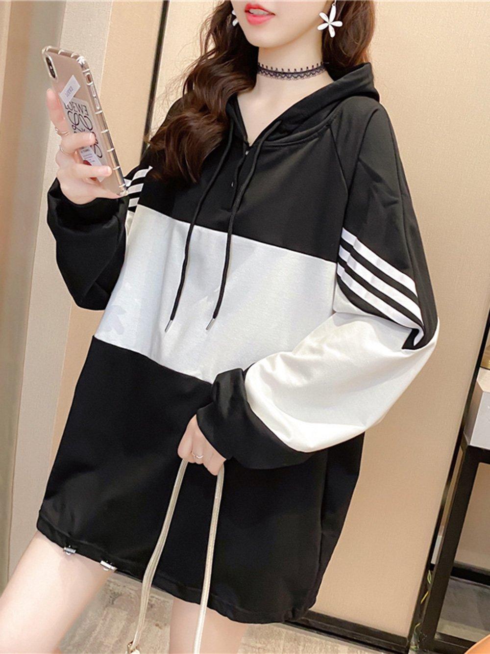 【広州仕入れ】フード付きステッチカラーブロッキングセーター