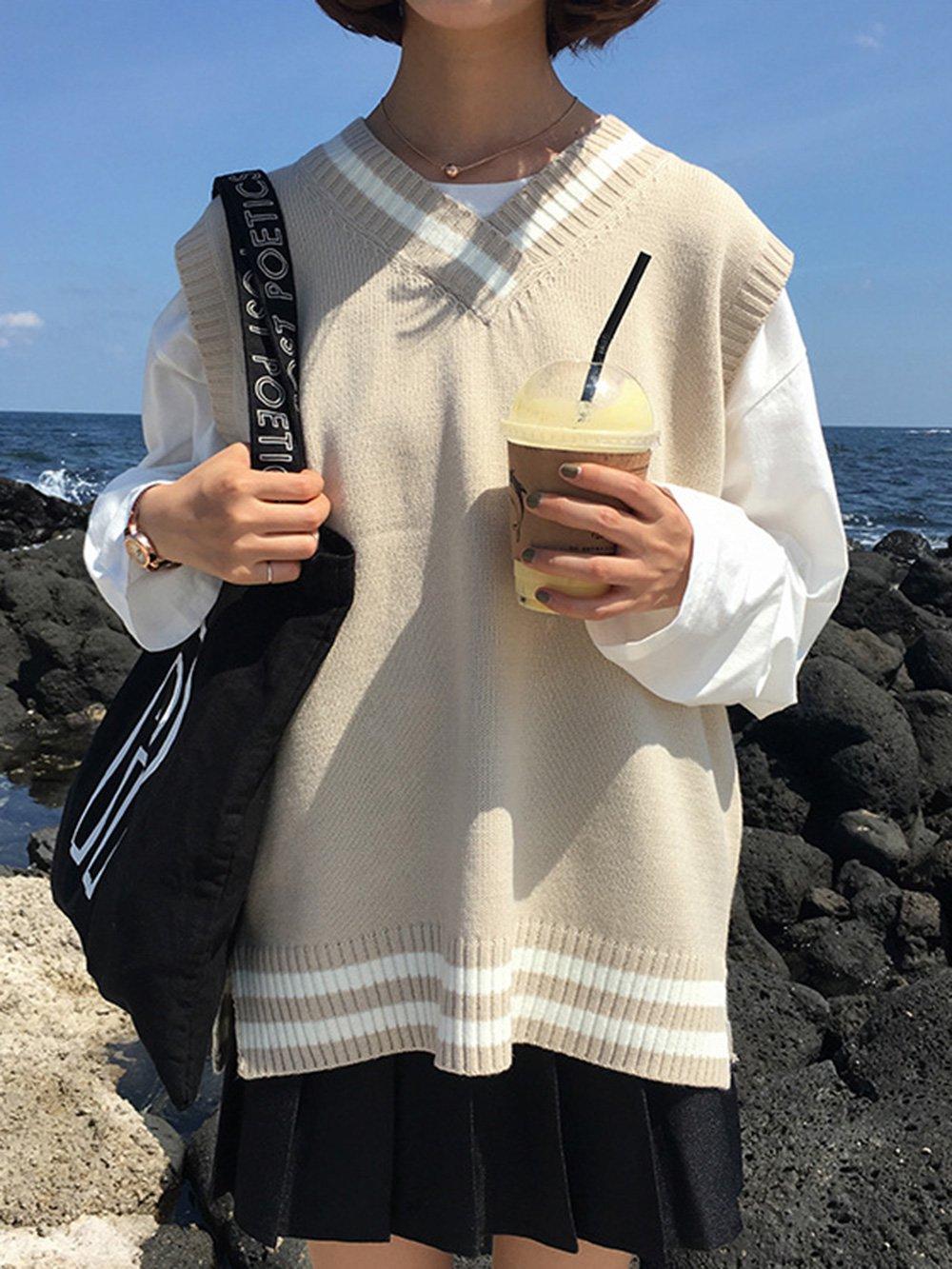 【広州仕入れ】秋冬ストライプステッチカレッジスタイルVネックニットベスト