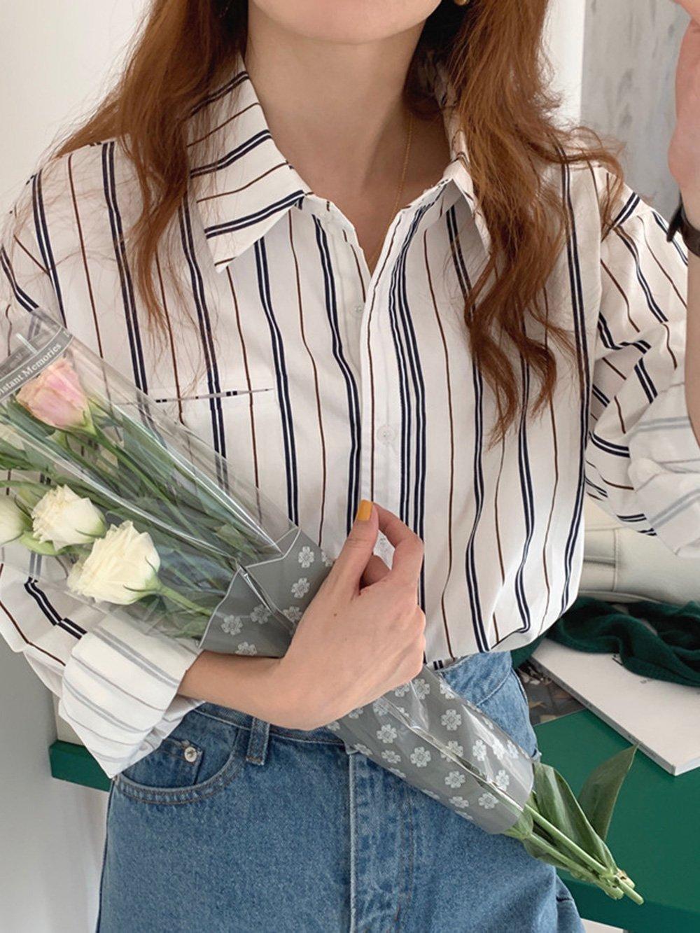 【広州仕入れ】レトロニッチラペルシングルブレストストライプルーズシャツ