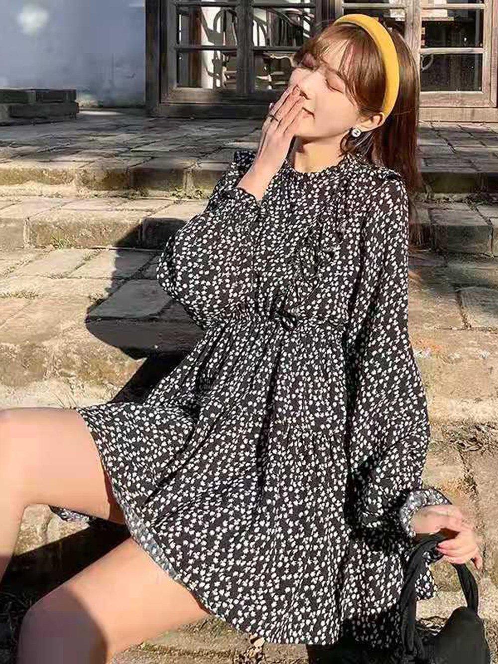 【広州仕入れ】薄い伸縮性のある花柄のドレス