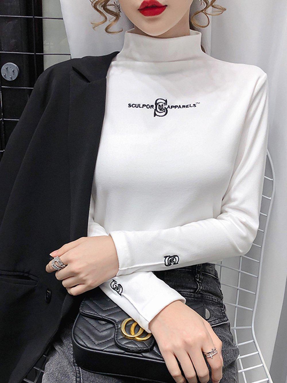 【広州仕入れ】刺繡ハーフハイネックボトミングシャツ女性長袖Tシャツ