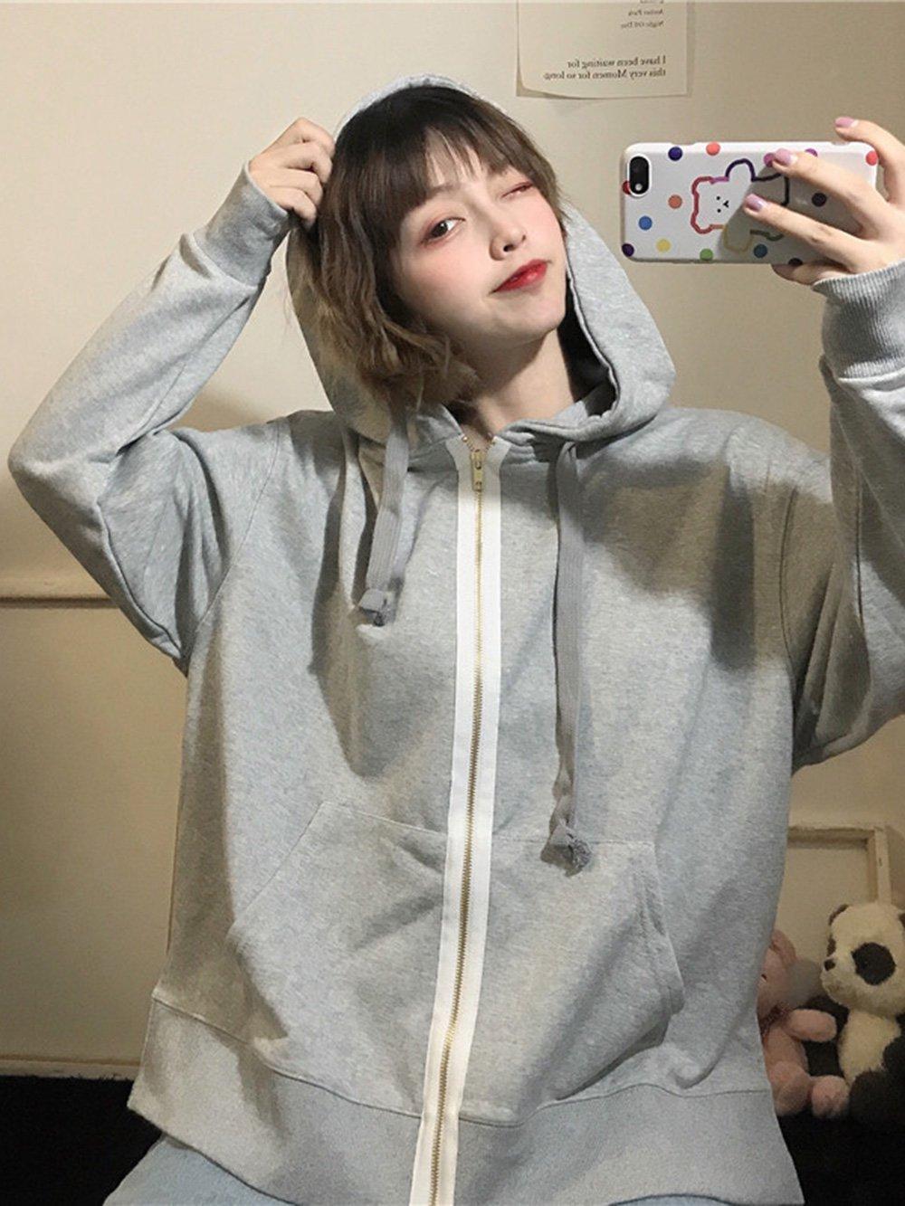 【広州仕入れ】ピュアカラージッパー薄めのフード付きセーターコートジャケット