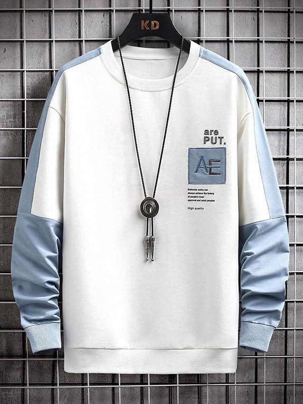 【広州仕入れ】袖切り替え ラウンドネック長袖Tシャツ