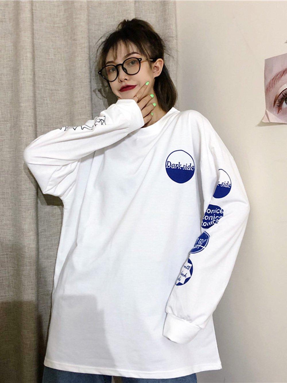 【広州仕入れ】袖プリントロゴ入り 長袖ロングTシャツ