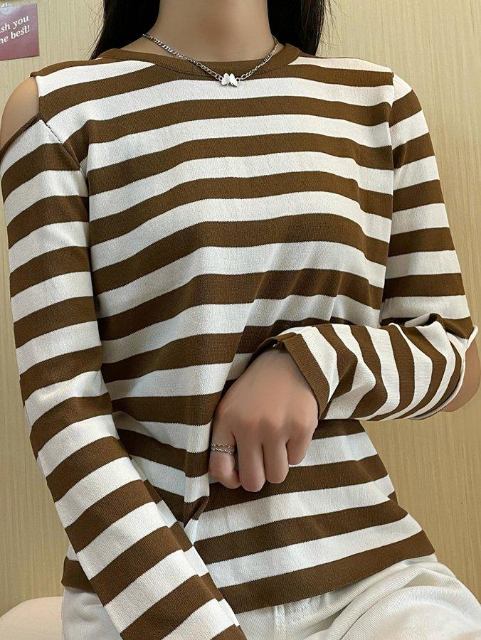 【広州仕入れ】肌見せ 長袖ラウンドネックボーダーTシャツ