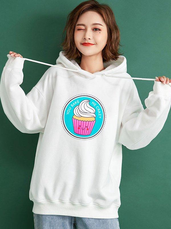 【広州仕入れ】カップケーキプリント フード付きパーカー