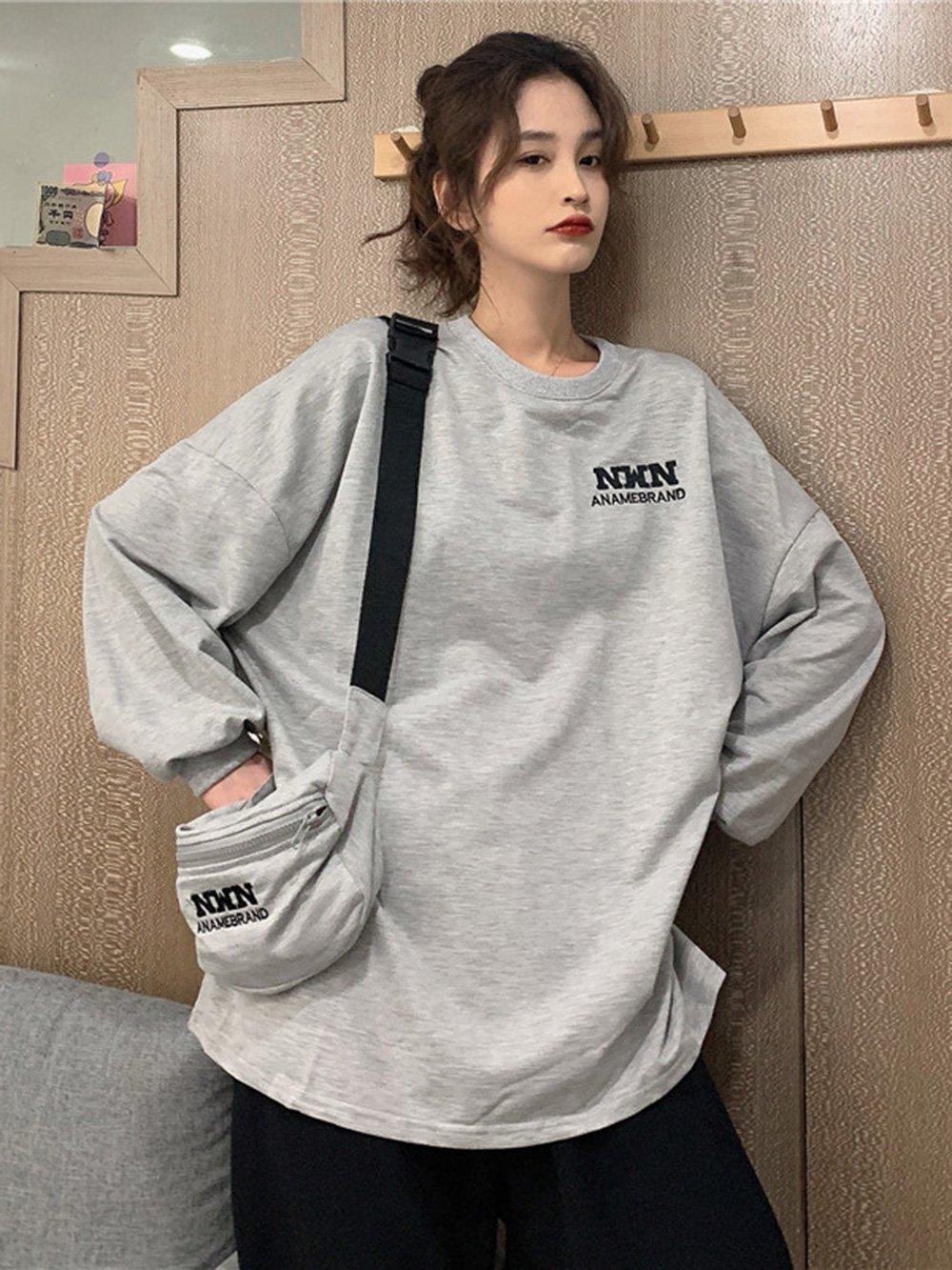 【広州仕入れ】バッグ付き ラウンドネック刺繡長袖Tシャツ