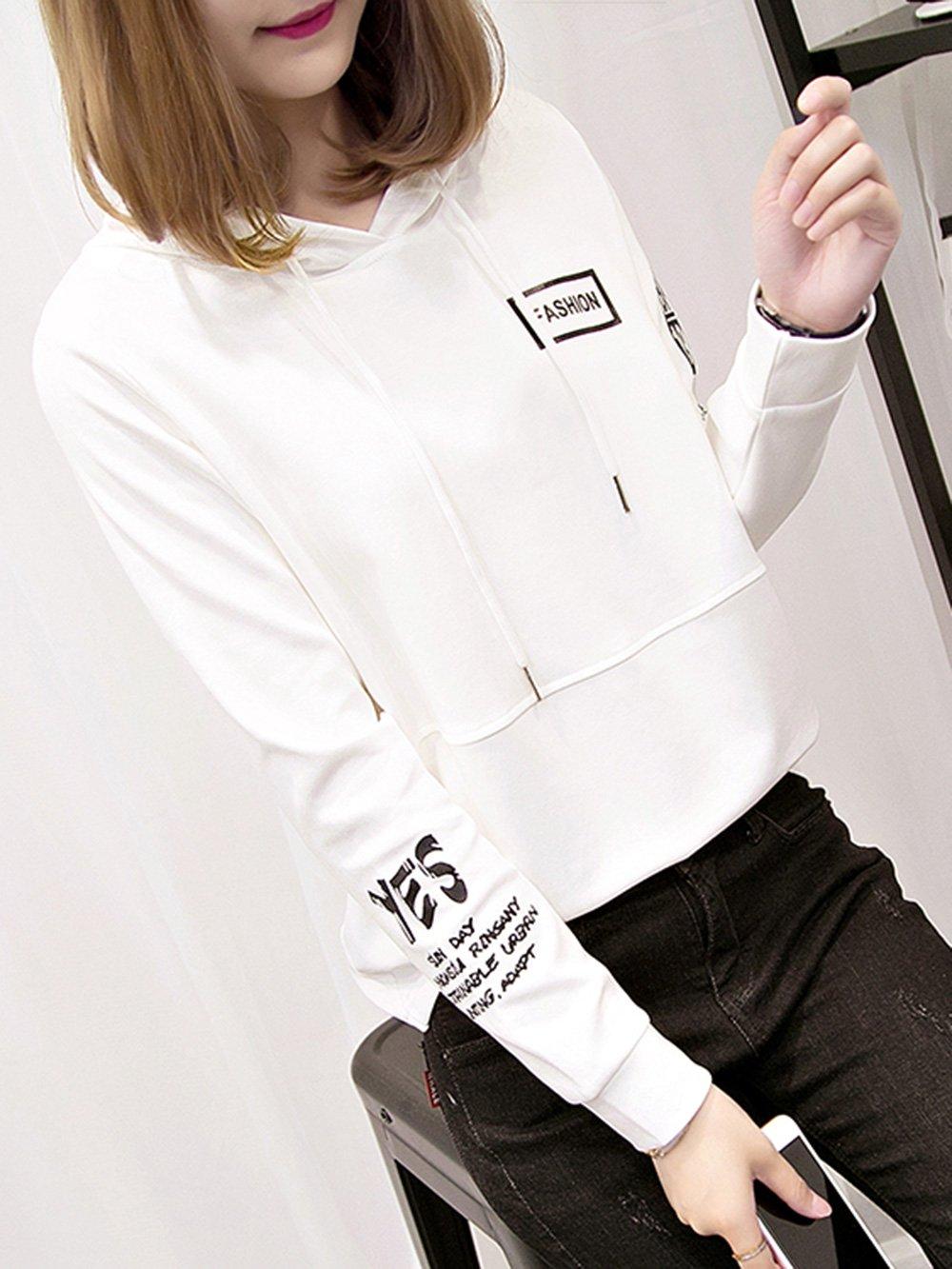 【広州仕入れ】フード付きルーズプリントセーター